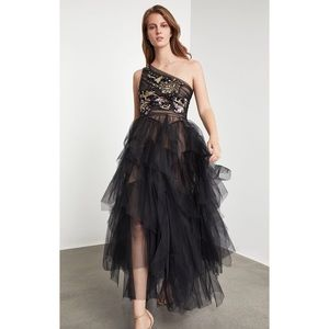 BCBG Embroidered One Shoulder Gown